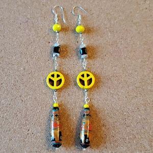 Hand Made Yellow Peace Dangel Earrings